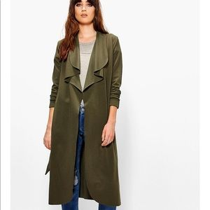 Boohoo Katie Belted Shawl Collar Duster